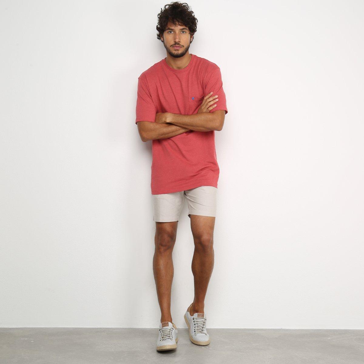 Camiseta Izod Saltwater Bolso Masculina - Vermelho