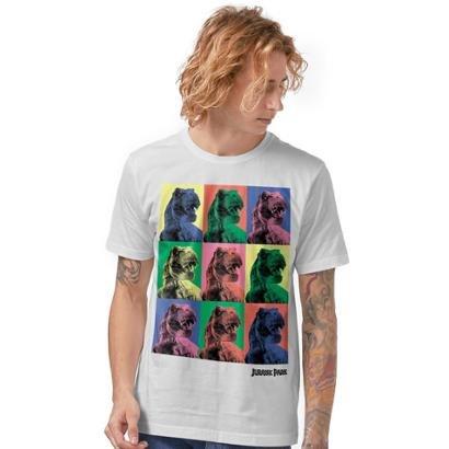 Camiseta Jurassic Park T.Rex Pop Art Masculina