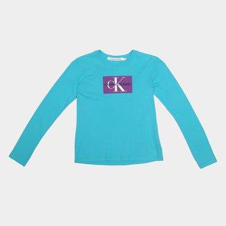 Camiseta Juvenil Calvin Klein Manga Longa Feminina