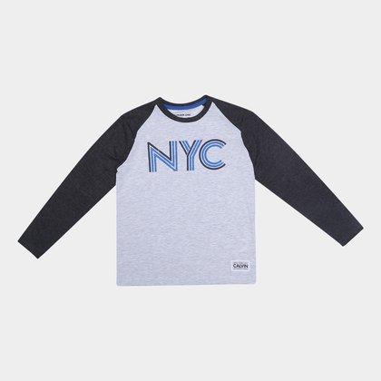 Camiseta Juvenil Calvin Klein NYC Raglan Manga Longa Masculina