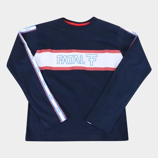 Camiseta Juvenil Fatal Logo Listras Manga Longa Masculina