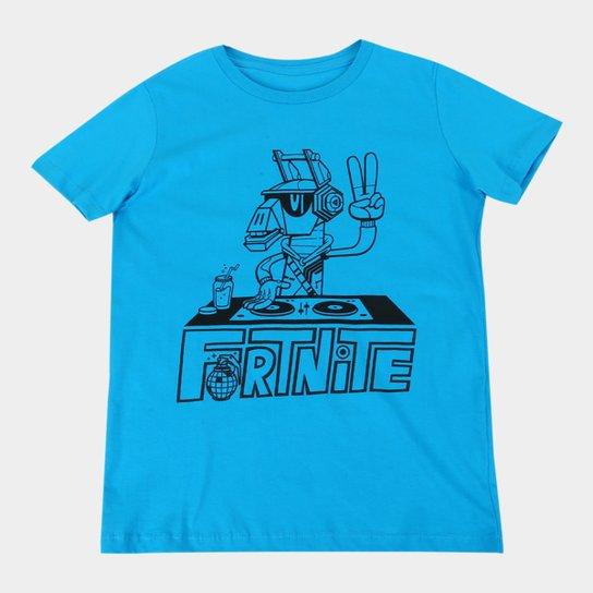 Camiseta Juvenil Fortnite Dj Yonder Masculina - Azul Claro