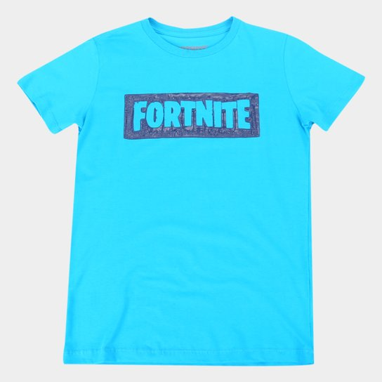 Camiseta Juvenil Fortnite Logo Masculina - Azul Claro