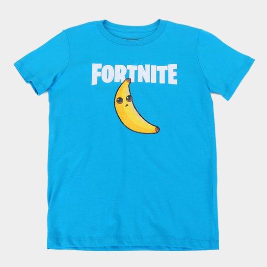 Camiseta Juvenil Fortnite Peely Banana Masculina - Azul Claro