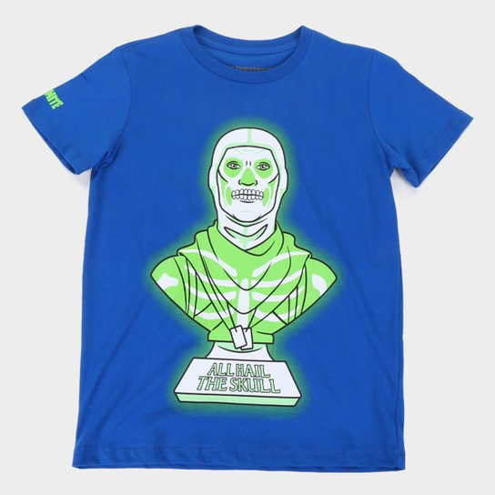 Camiseta Juvenil Fortnite Skull Trooper II Masculina - Azul Royal