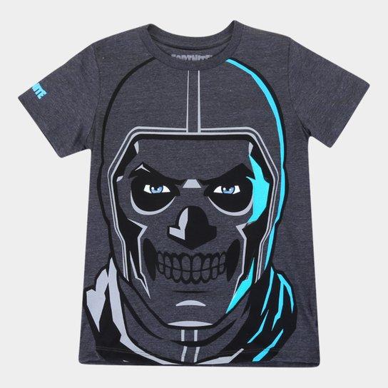 Camiseta Juvenil Fortnite Skull Trooper Masculina - Chumbo