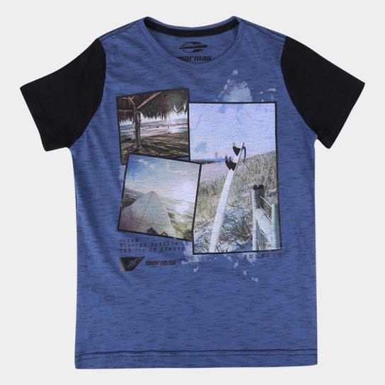 Camiseta Juvenil Mormaii Botone Estampada Masculina - Cinza