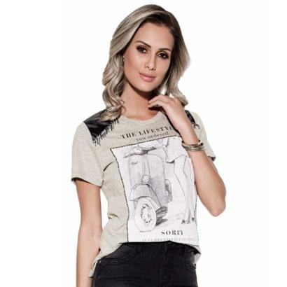 Camiseta Knt  Estampada Pedraria T-Shirt-Feminino