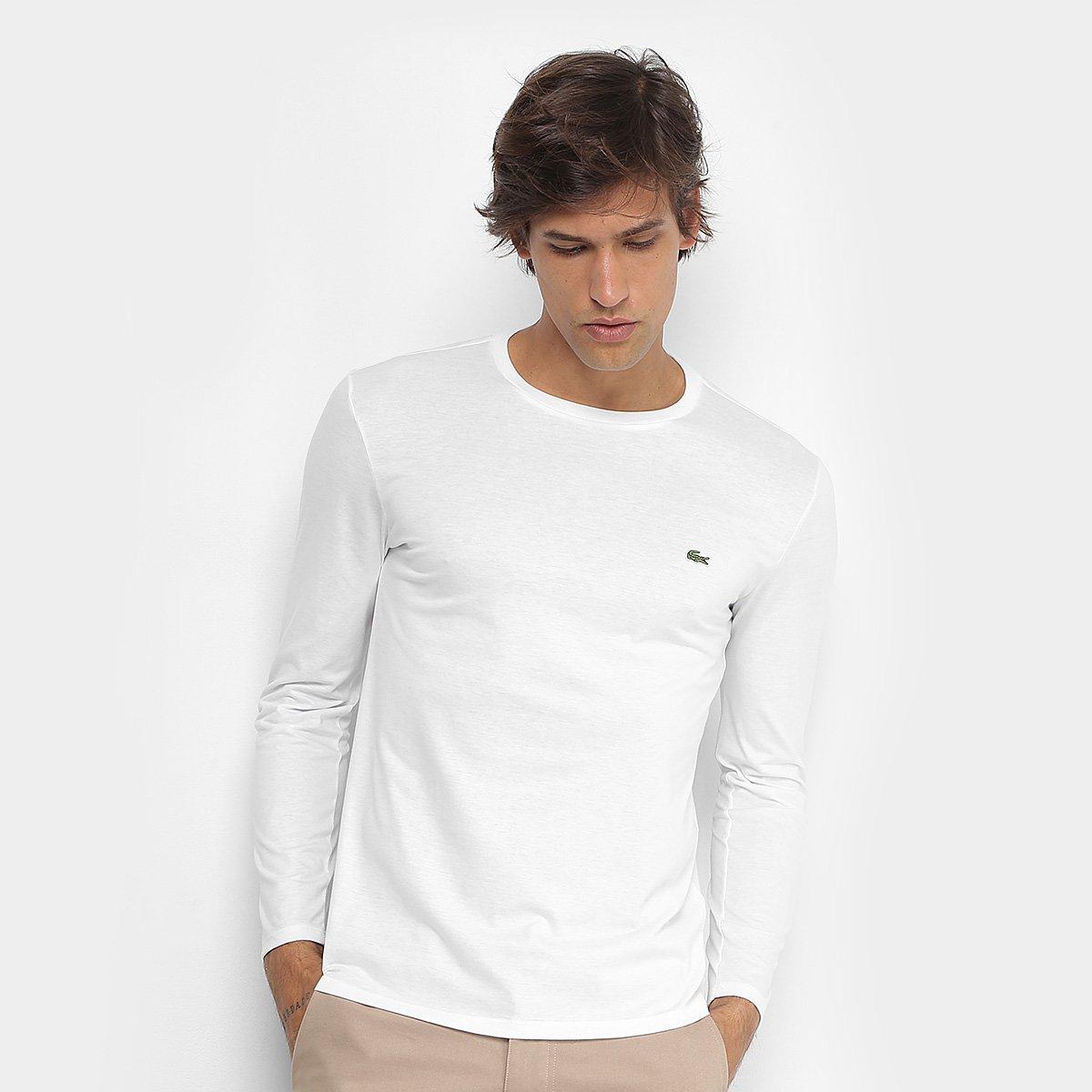 Camiseta Lacoste Básica Manga Longa Masculina - Compre Agora   Zattini 69594592da