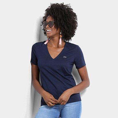 Camiseta Lacoste Gola V Feminina-Feminino