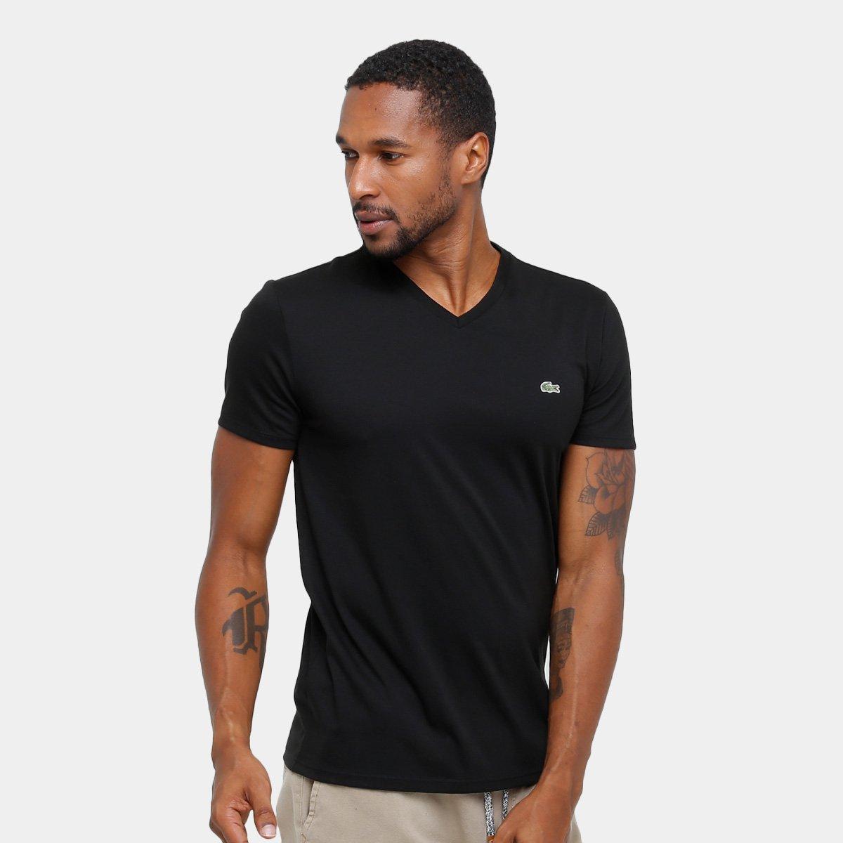 4f854986e8 Camiseta Lacoste Gola V Regular Fit Masculina - Compre Agora