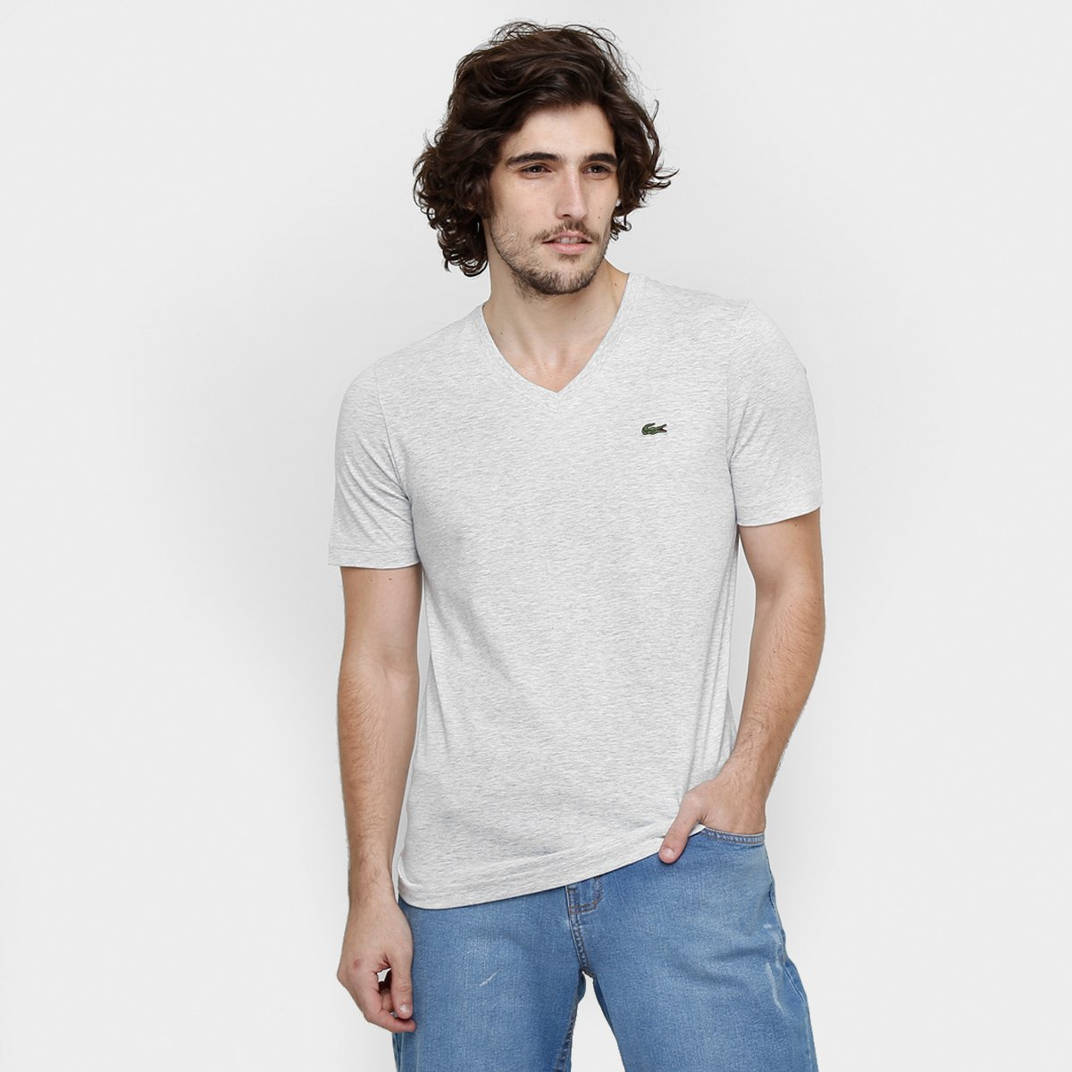 8cba510787 Camiseta Lacoste Lisa Gola V - Compre Agora