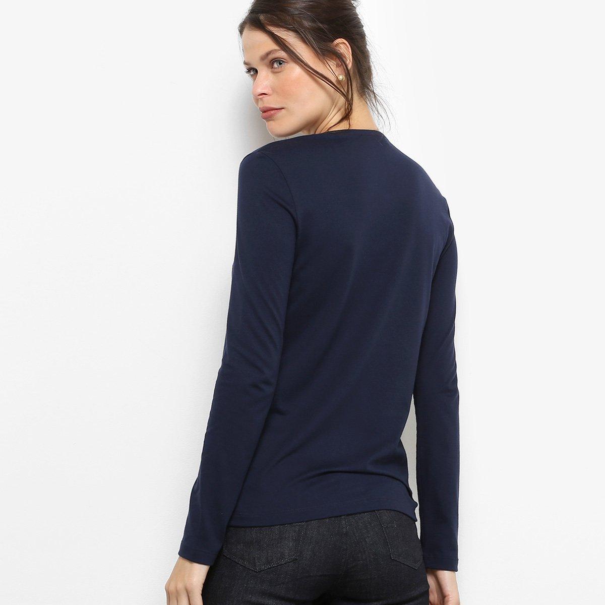 Camiseta Lacoste Manga Longa Decote V Feminina - Compre Agora  2c71a7f598a1d