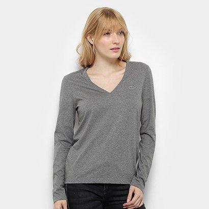 Camiseta Lacoste Manga Longa Gola V Feminina-Feminino