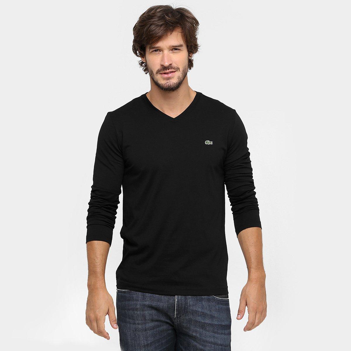 67acd3f2a7f87 Camiseta Lacoste Regular Fit Básica Gola V Manga Longa - Compre ...