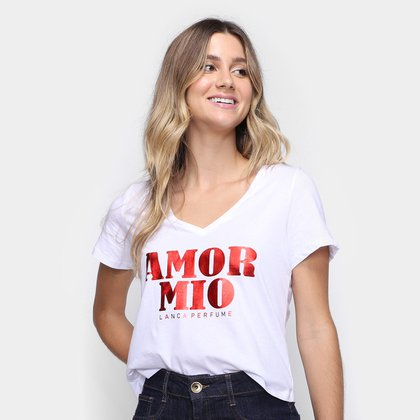 Camiseta Lança Perfume Amor Mio Gola V Feminina