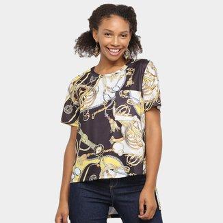 Camiseta Lança Perfume Estampada Bolso Feminina
