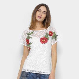 Camiseta Lança Perfume Renda Patches Feminina
