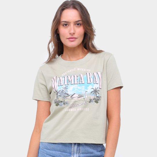 Camiseta Lecimar Bordada Waimea Bay Feminina - Verde