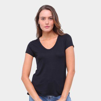 Camiseta Lecimar Gola V Manga Curta Feminina