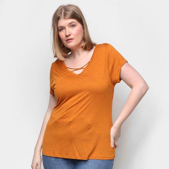 Camiseta Lecimar Tiras Feminina - Laranja