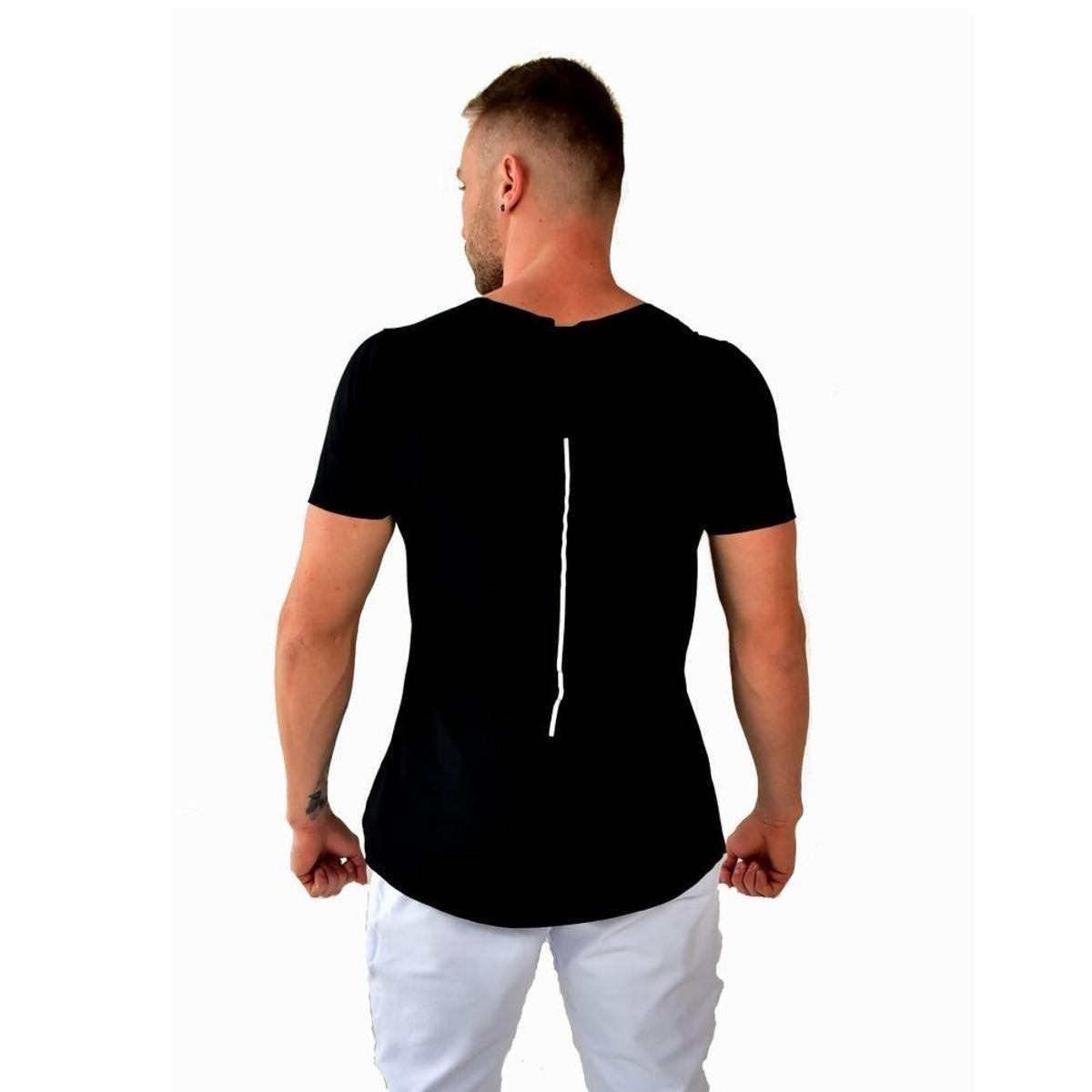 Camiseta Longline Brohood Viscolycra Masculino - Preto