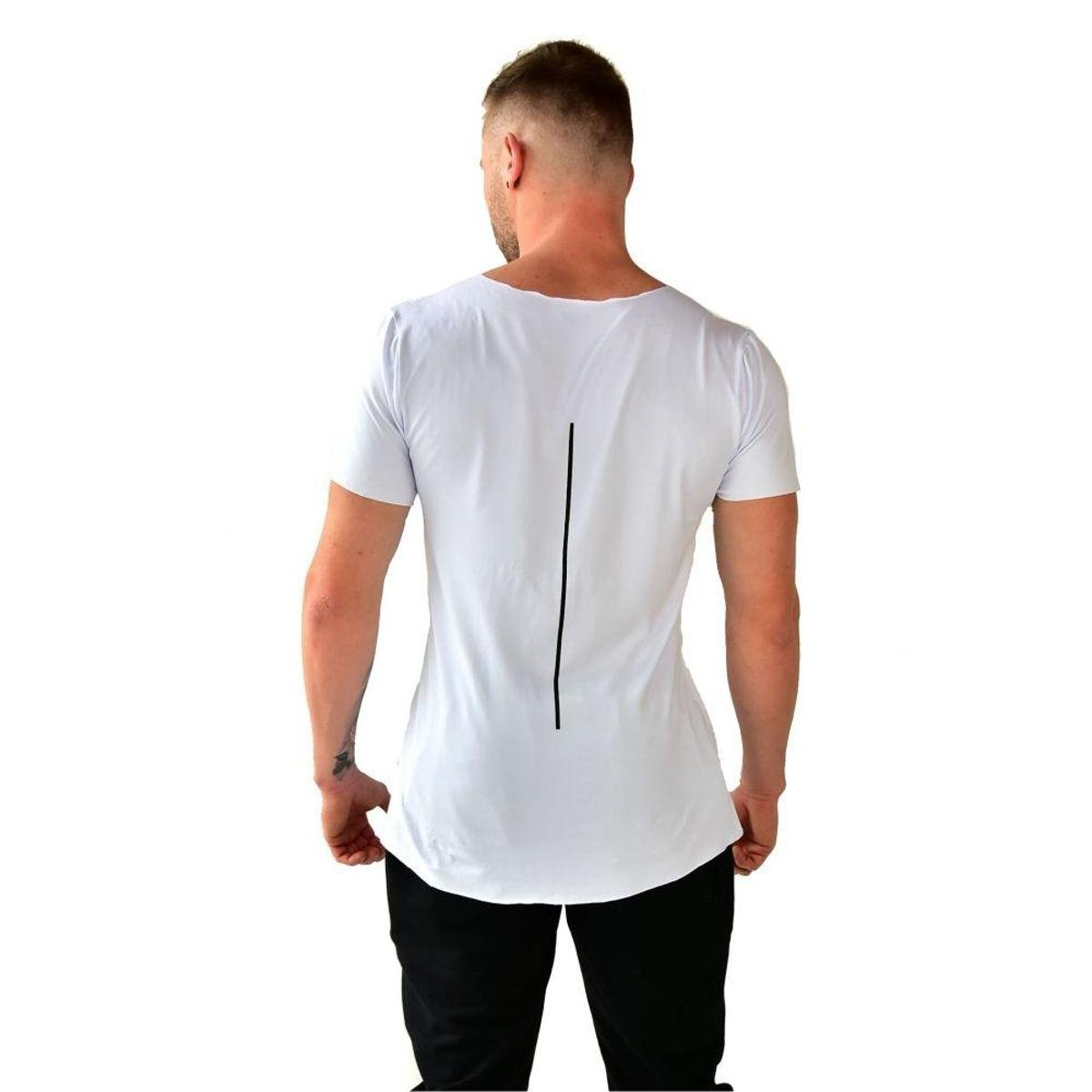 Camiseta Longline Brohood Viscolycra Masculino - Branco