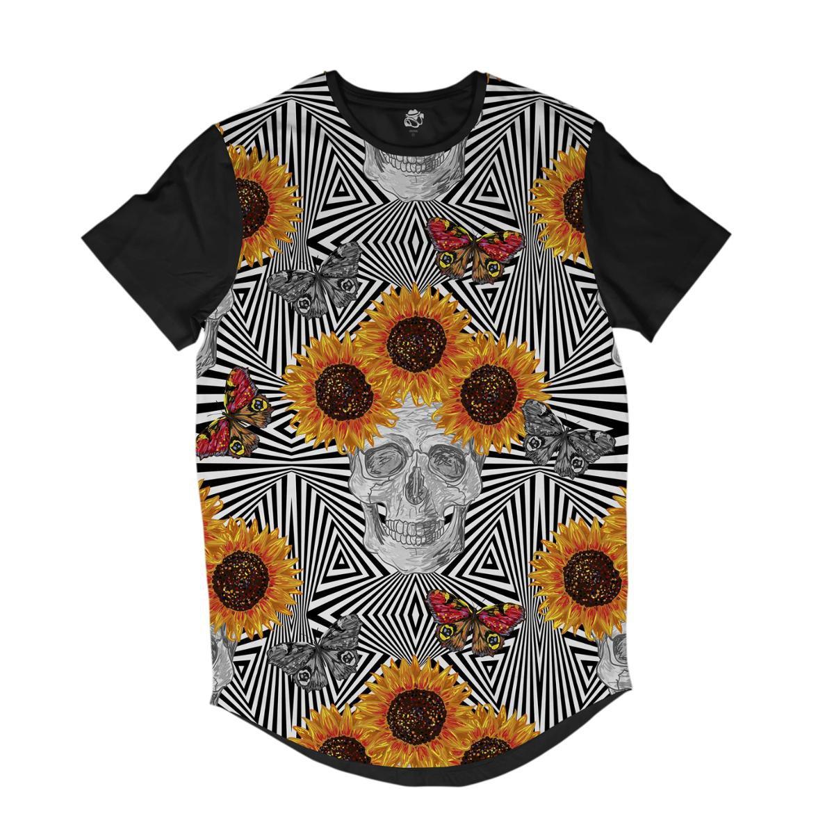 Camiseta Longline BSC Padrões e Listras Caveira Girassol Sublimada    Masculina - Branco - Compre Agora  d43e4283d6b