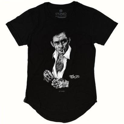 Camiseta Longline Stoned Johnny Cash Masculina