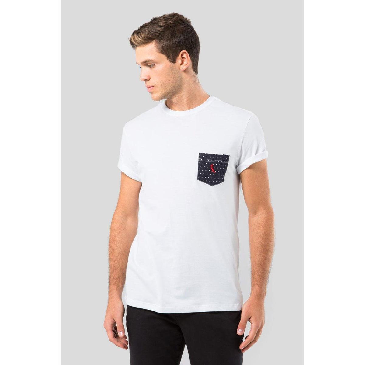 Camiseta Malha Variada Bolso 577 Bordado Reserva Masculina - Branco