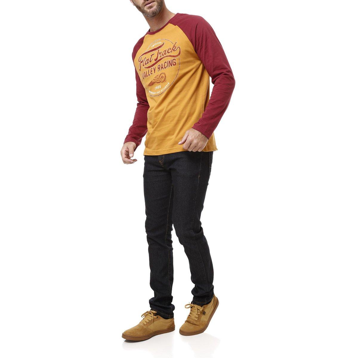 Camiseta Manga Longa Masculina Mostarda - Compre Agora  862e8eb615766