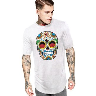 Camiseta Masculina Oversized Long Line Caveira Mexicana