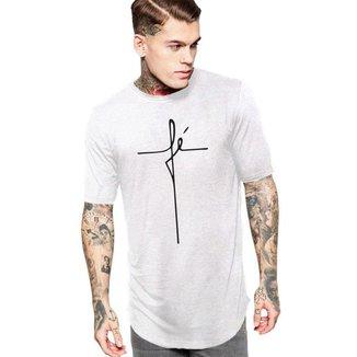 Camiseta Masculina Oversized Long Line  Religiosa Cristã Fé