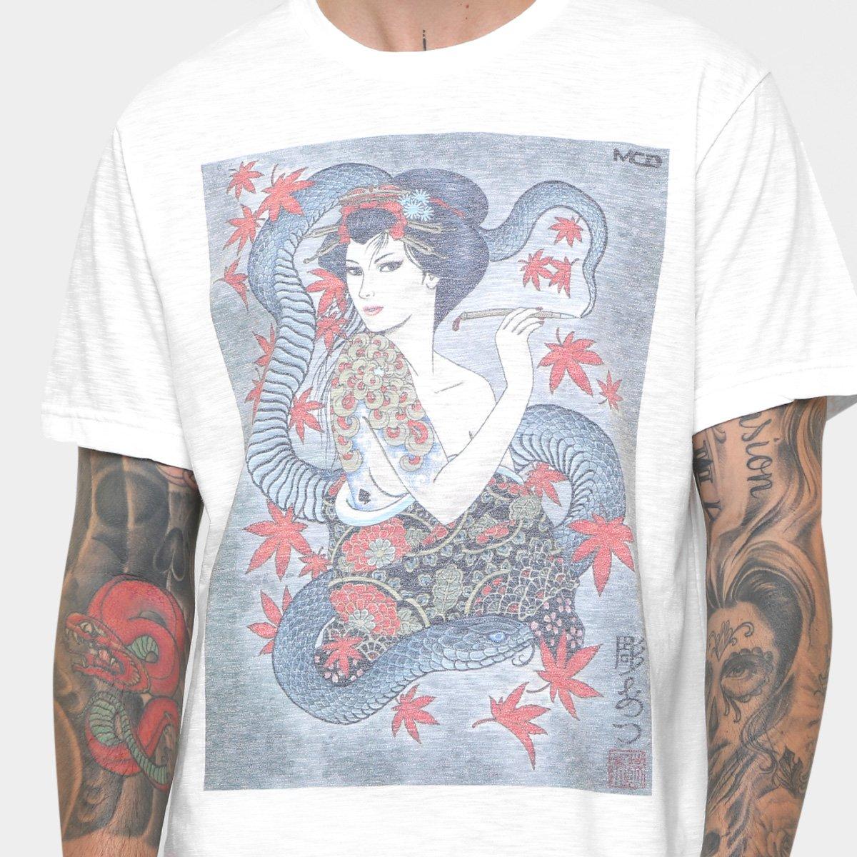 Camiseta MCD Especial Body Tattoo Gueixa Christian Ar Masculina ... a75072cc495