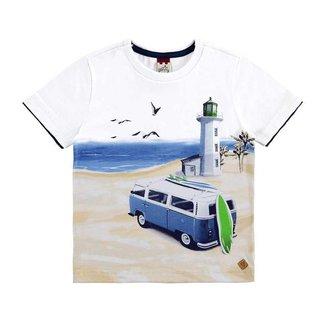 Camiseta Meia Malha Com Etiqueta De Couro Ecologico Glinny
