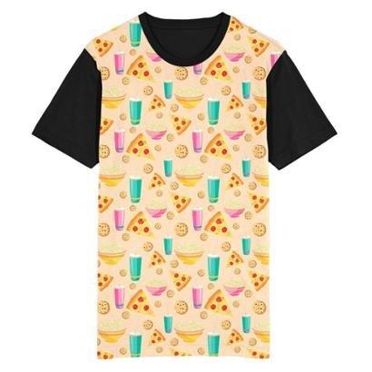 Camiseta Migian Pizza Cookie Pipoca Sublimada Masculina
