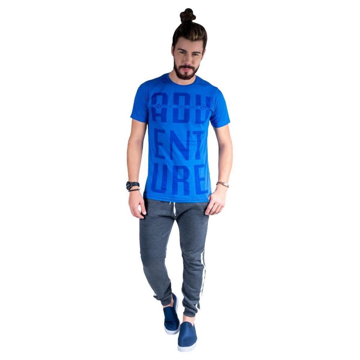 Camiseta Mister Fish Estampado Adventure Masculina - Azul Royal 8cNKC