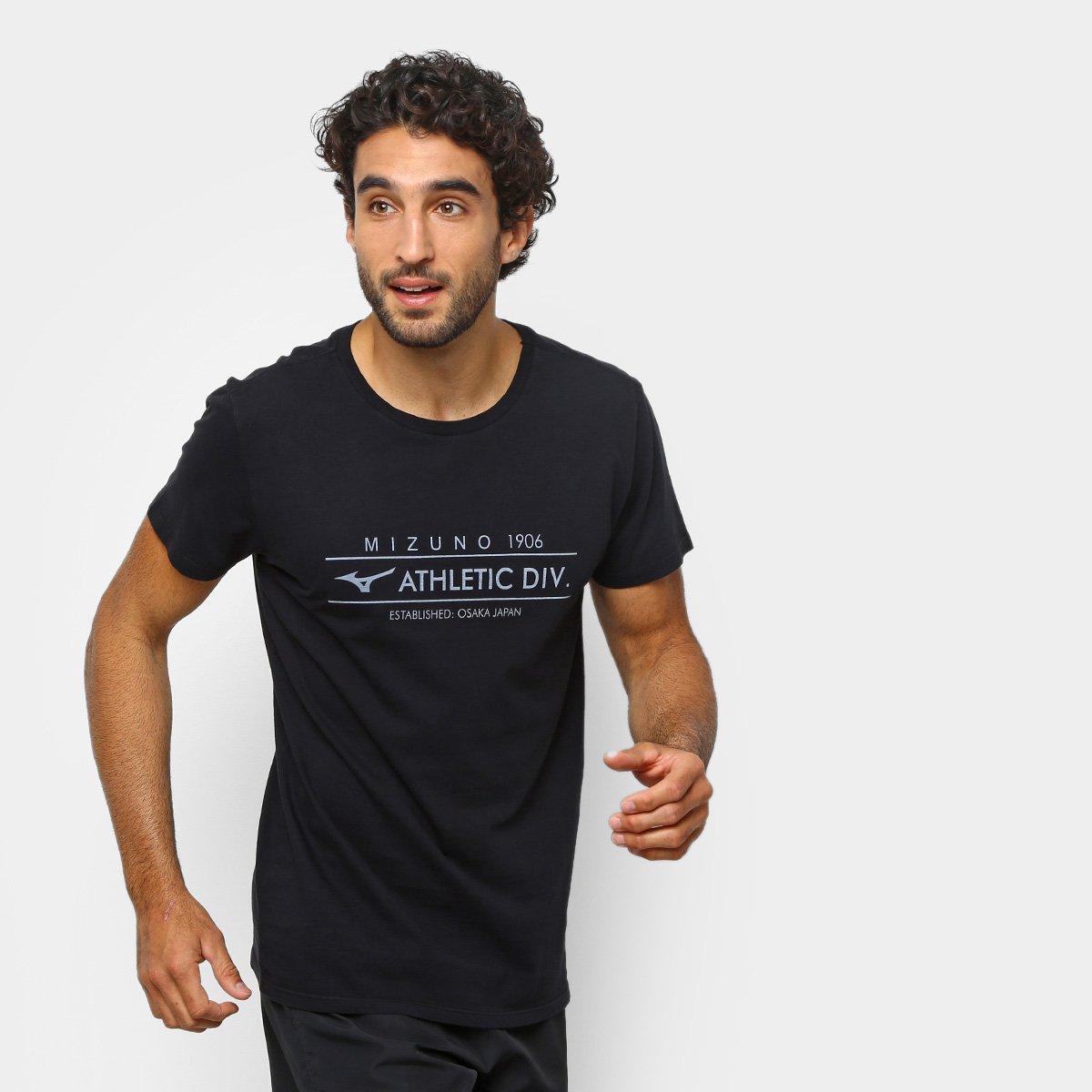 Camiseta Mizuno Athletic Div Masculina - Preto e Branco - Compre ... 2f7894a90643f