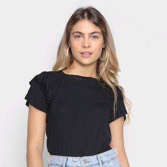 Camiseta Modaloka Manga Curta Com Babado Feminina