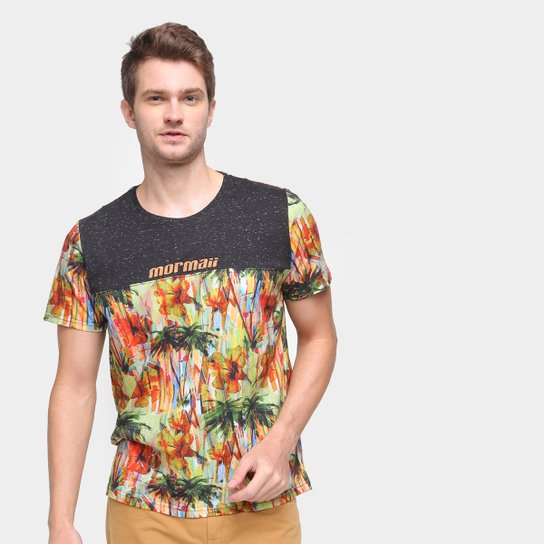 Camiseta Mormaii Beach Party Masculina - Preto+Amarelo