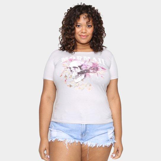 Camiseta Mormaii Skull and Flowers Plus Size Feminina - Mescla Claro