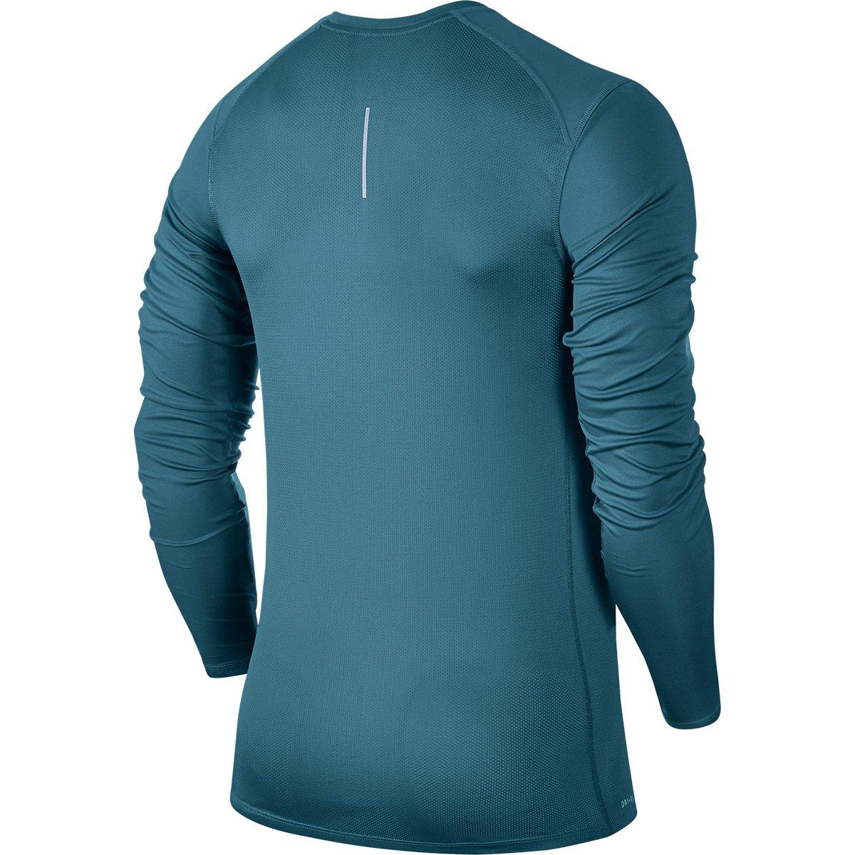 3162d71ec5 Camiseta Nike Dri-Fit Miler Manga Longa Masculina - Verde água ...