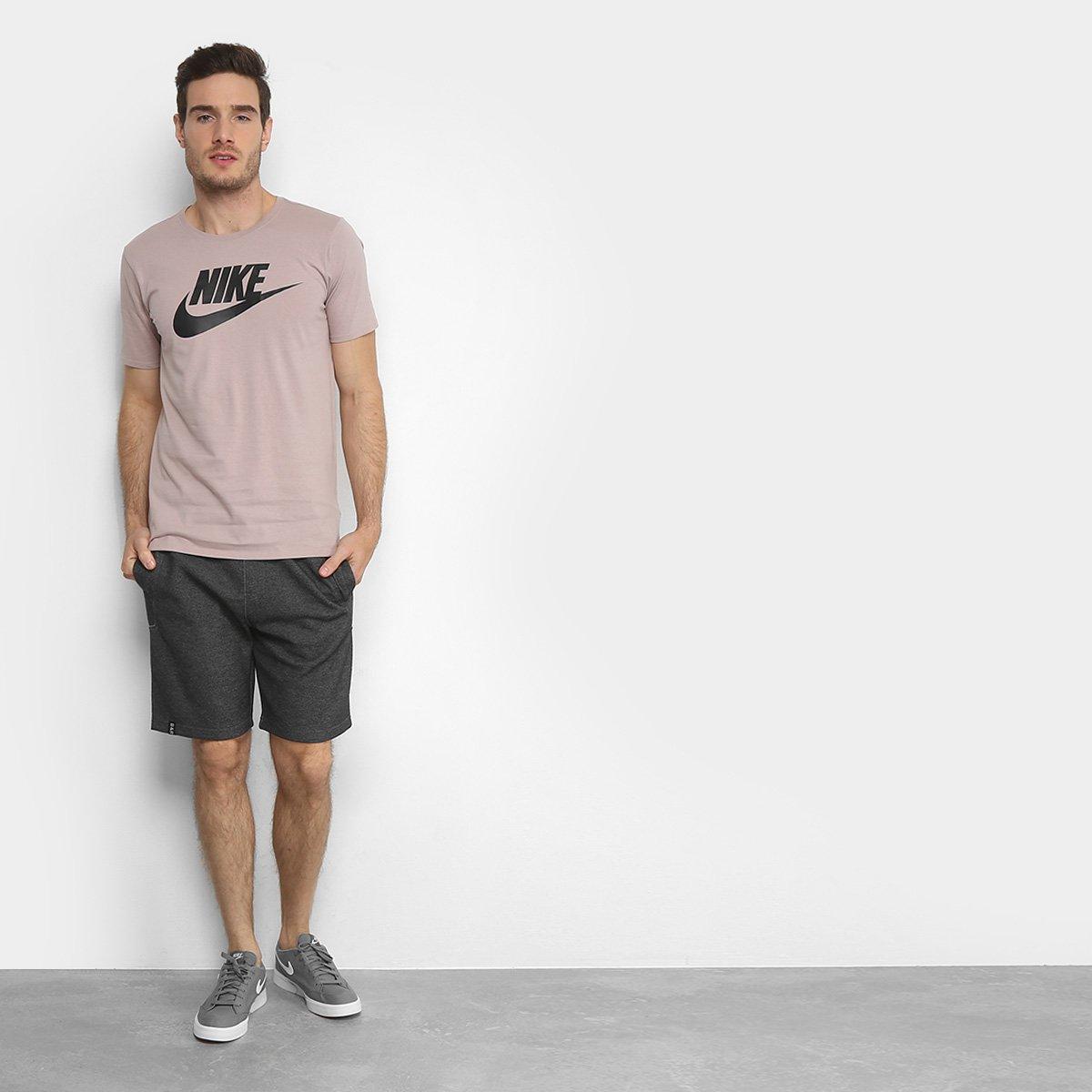 72b49a0fad Camiseta Nike Futura Icon - Preto e Rosa - Compre Agora