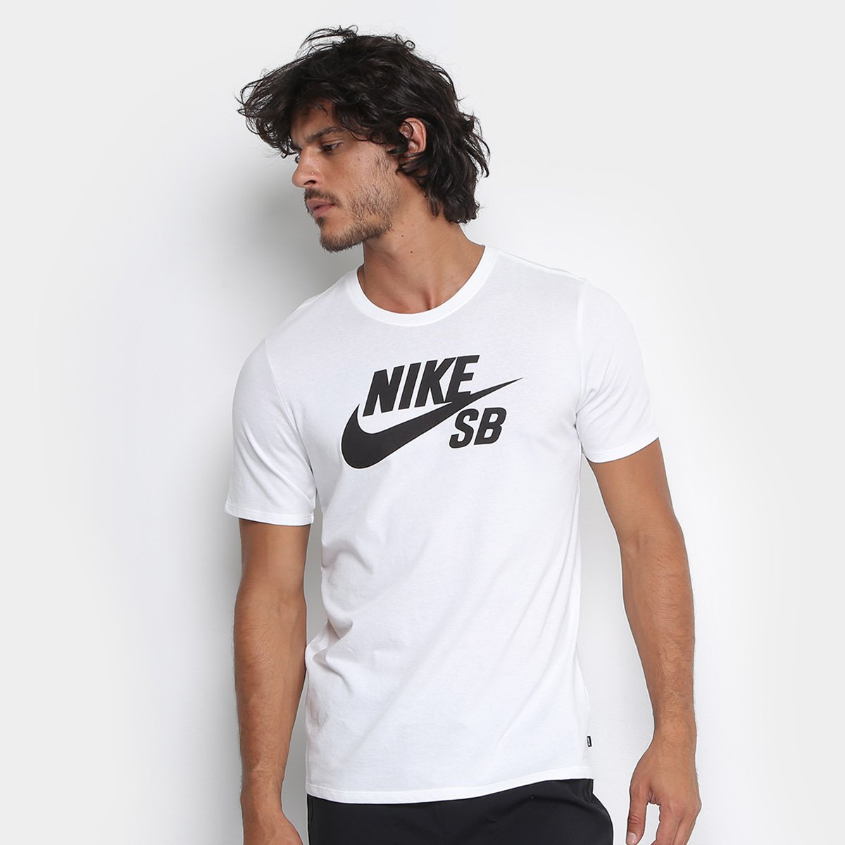ffdbab8ced Camiseta Nike Sb Logo Masculina - Branco e Preto