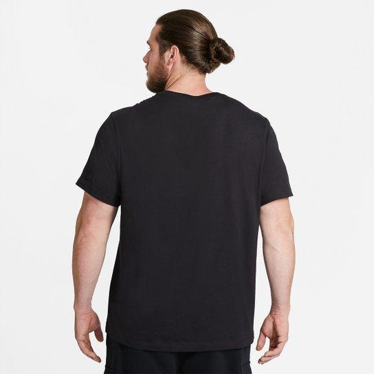 Ellos Mecánica Explicación  Camiseta Nike Sportswear Club Masculina - Preto e Branco | Zattini