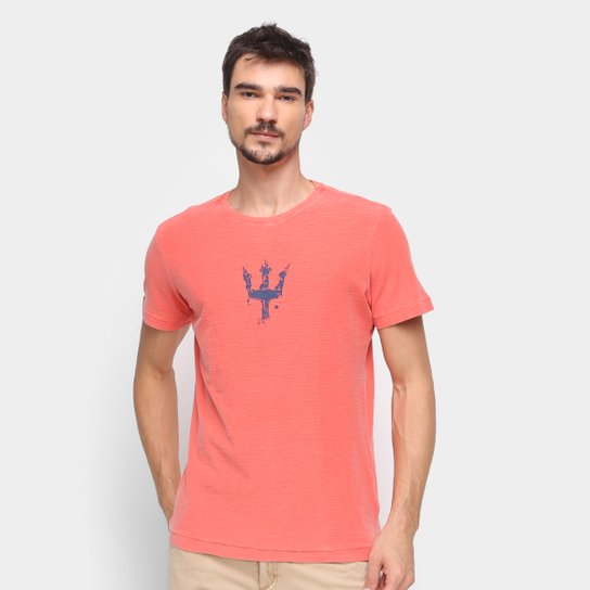 Camiseta Osklen Estampada Manga Curta Masculina - Laranja Escuro
