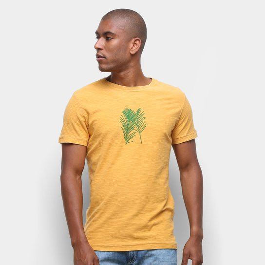 Camiseta Osklen Rough Palm Traces Masculina - Amarelo