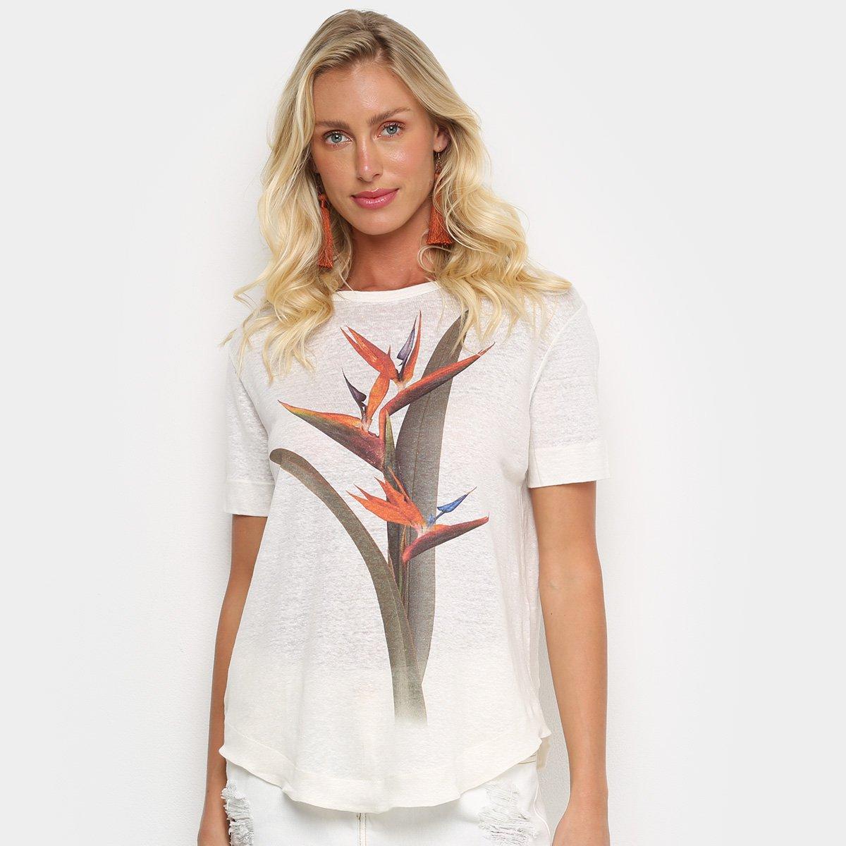 Camiseta Osklen Strelitza Color Feminina - Bege gaux2j4b