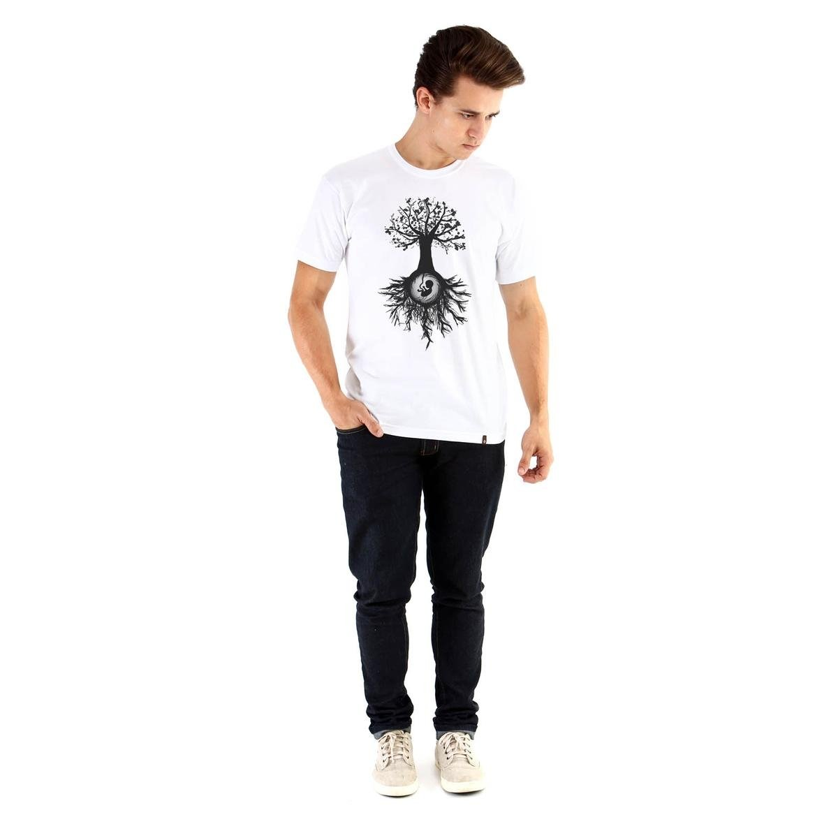 Camiseta Ouroboros manga curta Árvore da Vida - Branco