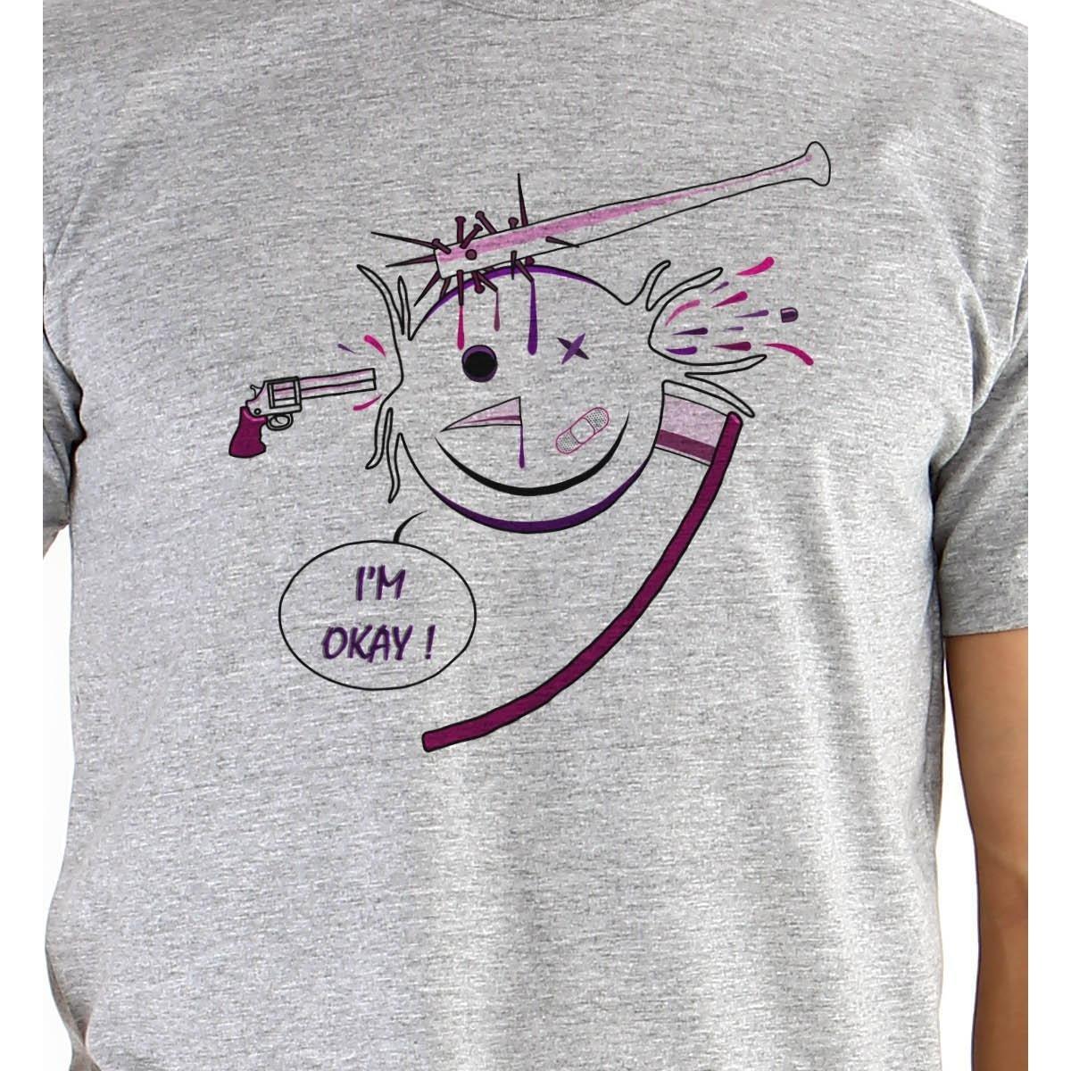 Camiseta Ouroboros Manga Curta I'm Okay! Masculina - Cinza